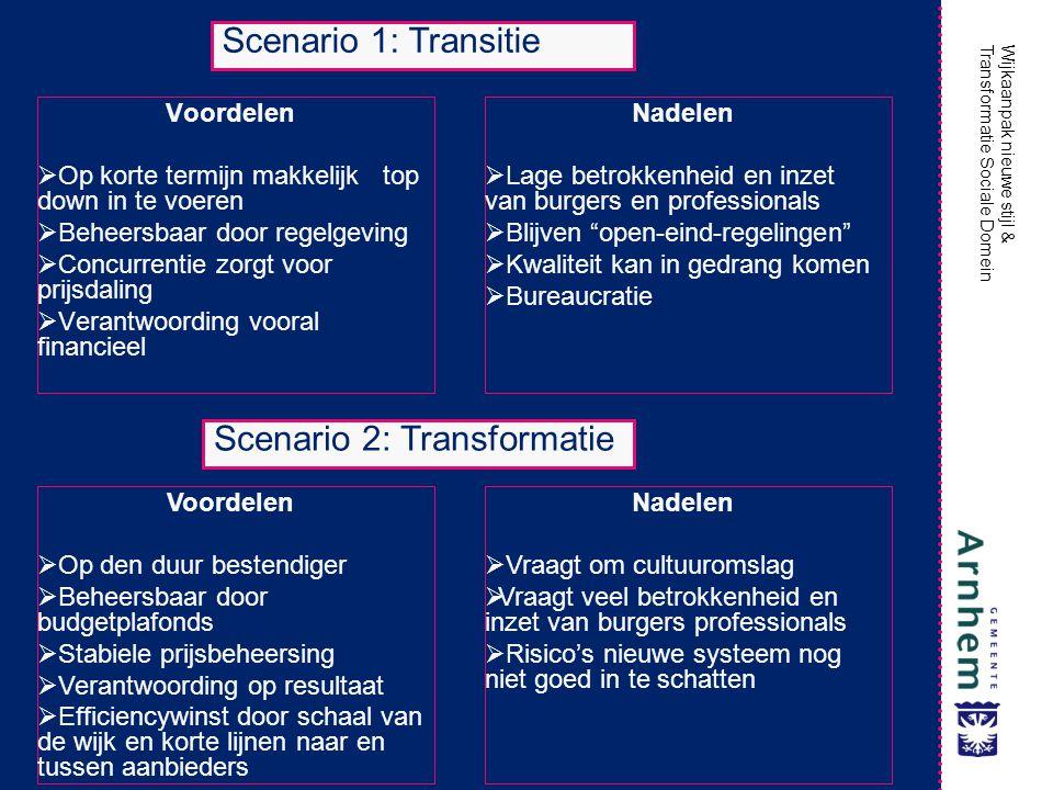 Wijkaanpak nieuwe stijl & Transformatie Sociale Domein Voordelen  Op korte termijn makkelijk top down in te voeren  Beheersbaar door regelgeving  C