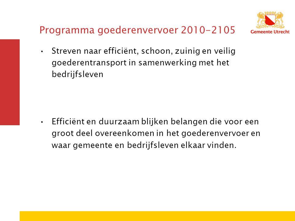 Programma goederenvervoer 2010-2105 Streven naar efficiënt, schoon, zuinig en veilig goederentransport in samenwerking met het bedrijfsleven Efficiënt