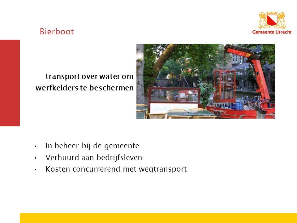 Bierboot transport over water om werfkelders te beschermen In beheer bij de gemeente Verhuurd aan bedrijfsleven Kosten concurrerend met wegtransport