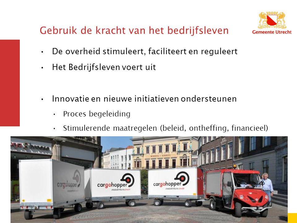 Gebruik de kracht van het bedrijfsleven De overheid stimuleert, faciliteert en reguleert Het Bedrijfsleven voert uit Innovatie en nieuwe initiatieven