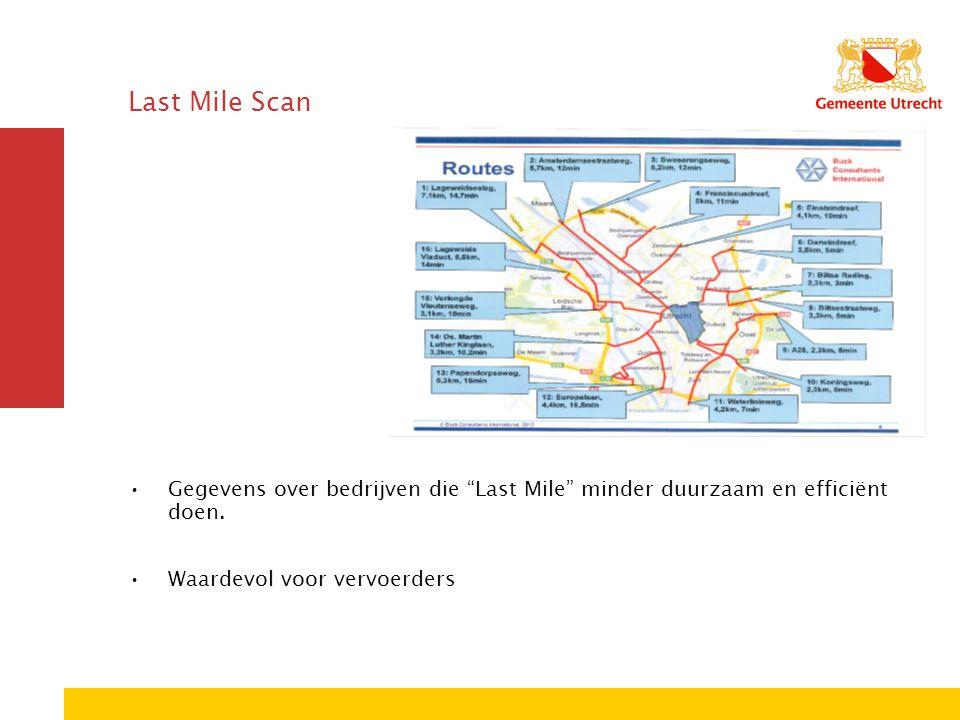 """Last Mile Scan Gegevens over bedrijven die """"Last Mile"""" minder duurzaam en efficiënt doen. Waardevol voor vervoerders"""