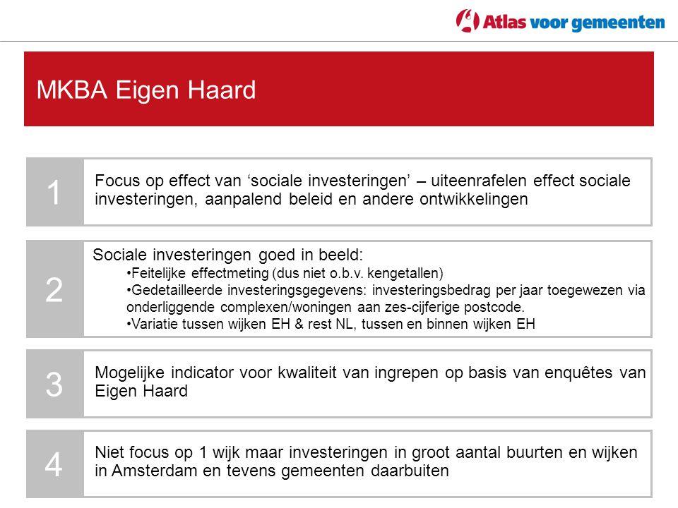 MKBA Eigen Haard 1 Focus op effect van 'sociale investeringen' – uiteenrafelen effect sociale investeringen, aanpalend beleid en andere ontwikkelingen 2 Sociale investeringen goed in beeld: Feitelijke effectmeting (dus niet o.b.v.