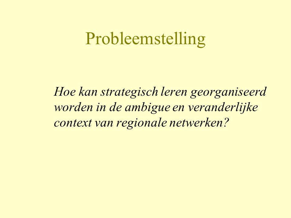 Probleemstelling Hoe kan strategisch leren georganiseerd worden in de ambigue en veranderlijke context van regionale netwerken