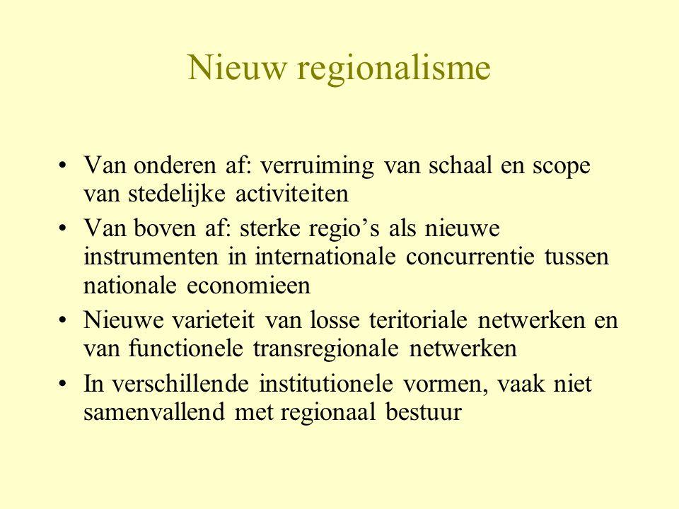 Nieuw regionalisme Van onderen af: verruiming van schaal en scope van stedelijke activiteiten Van boven af: sterke regio's als nieuwe instrumenten in internationale concurrentie tussen nationale economieen Nieuwe varieteit van losse teritoriale netwerken en van functionele transregionale netwerken In verschillende institutionele vormen, vaak niet samenvallend met regionaal bestuur