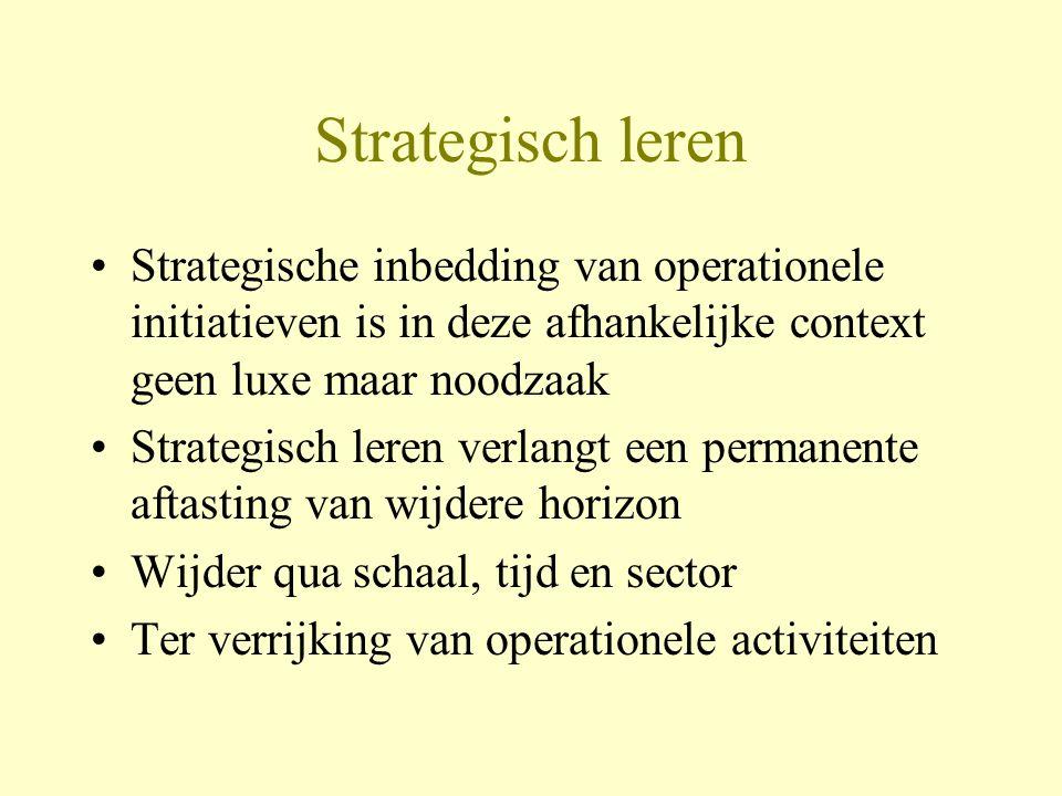 Strategisch leren Strategische inbedding van operationele initiatieven is in deze afhankelijke context geen luxe maar noodzaak Strategisch leren verlangt een permanente aftasting van wijdere horizon Wijder qua schaal, tijd en sector Ter verrijking van operationele activiteiten