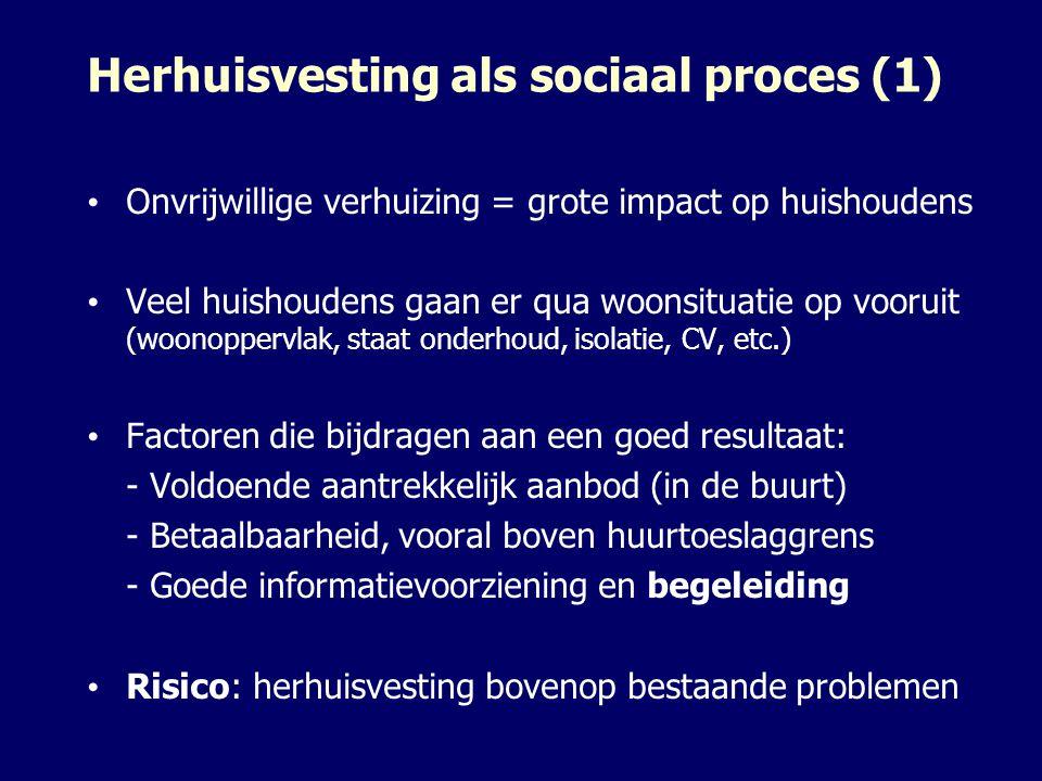 Herhuisvesting als sociaal proces (1) Onvrijwillige verhuizing = grote impact op huishoudens Veel huishoudens gaan er qua woonsituatie op vooruit (woo