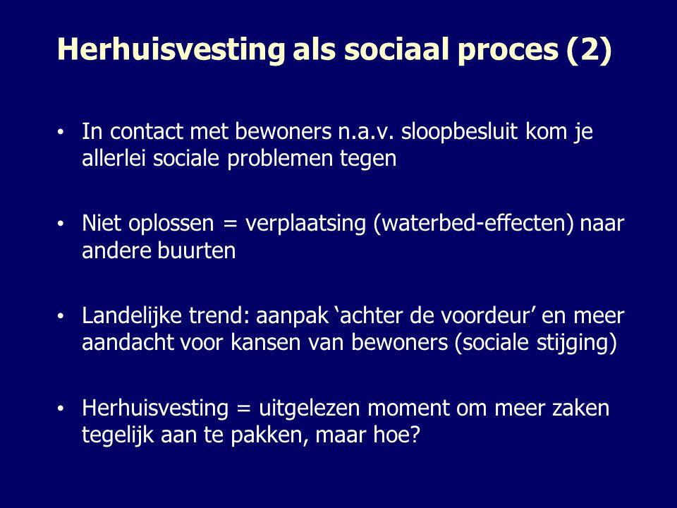 Herhuisvesting als sociaal proces (2) In contact met bewoners n.a.v. sloopbesluit kom je allerlei sociale problemen tegen Niet oplossen = verplaatsing