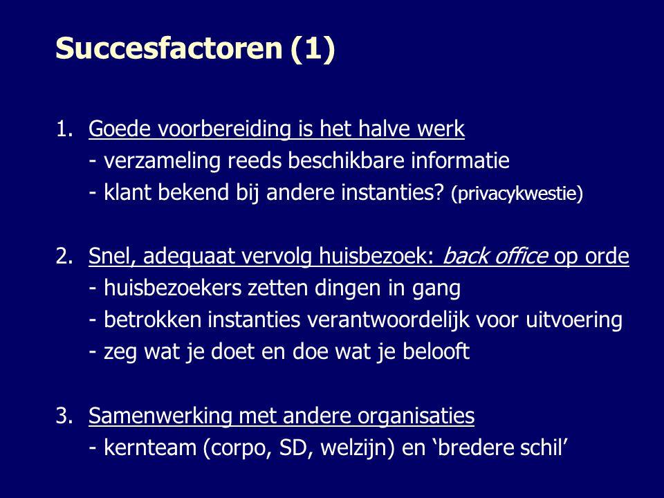 Succesfactoren (1) 1.Goede voorbereiding is het halve werk - verzameling reeds beschikbare informatie - klant bekend bij andere instanties? (privacykw