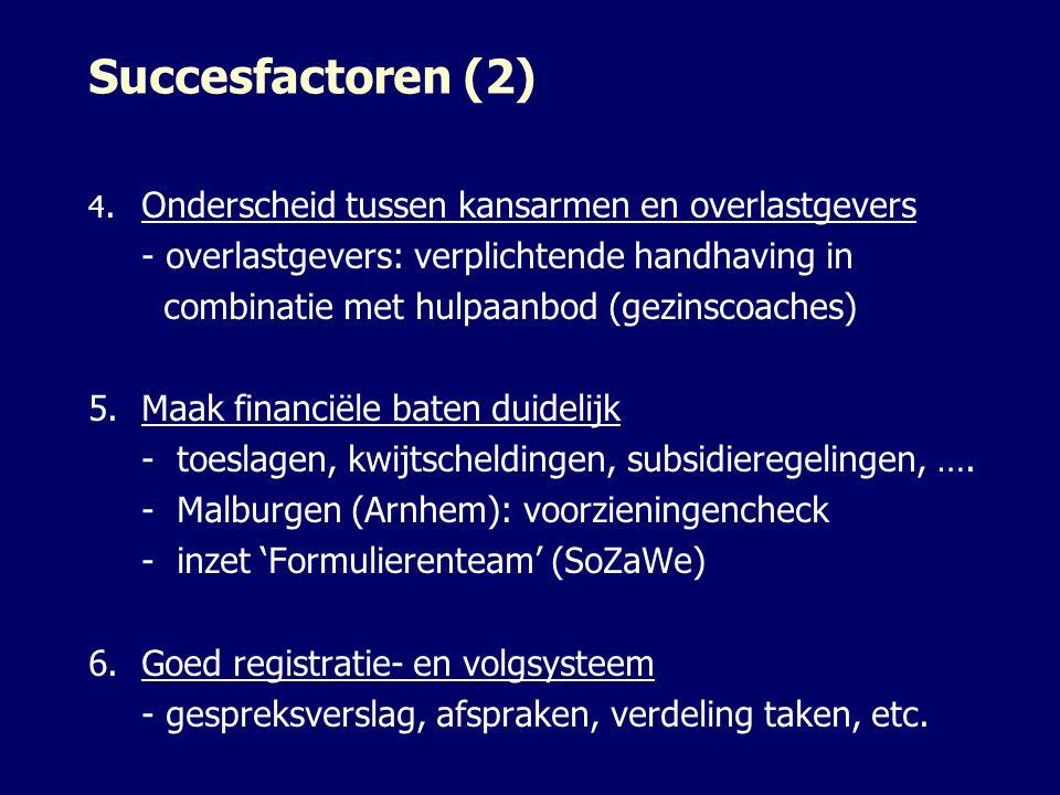 Succesfactoren (2) 4.Onderscheid tussen kansarmen en overlastgevers - overlastgevers: verplichtende handhaving in combinatie met hulpaanbod (gezinscoa