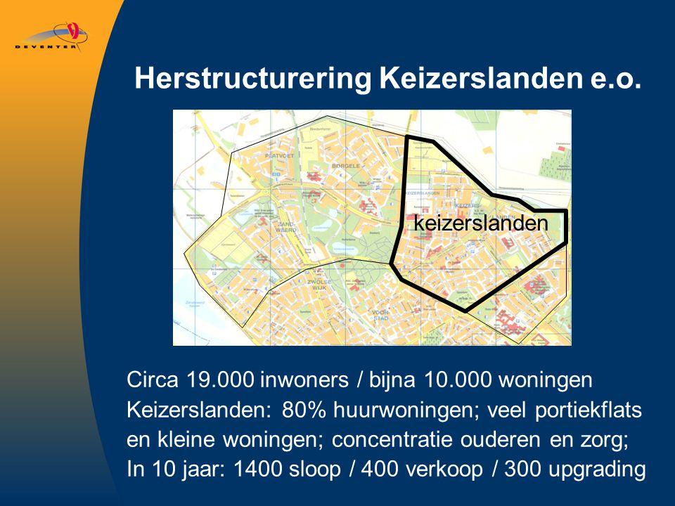 Herstructurering Keizerslanden e.o. Circa 19.000 inwoners / bijna 10.000 woningen Keizerslanden: 80% huurwoningen; veel portiekflats en kleine woninge