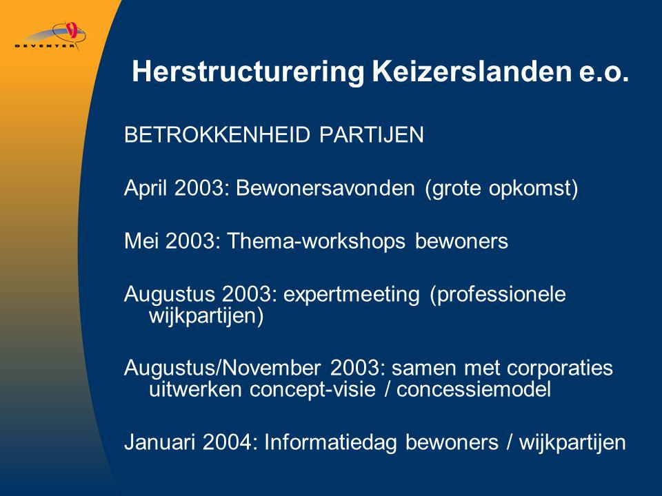 Herstructurering Keizerslanden e.o. BETROKKENHEID PARTIJEN April 2003: Bewonersavonden (grote opkomst) Mei 2003: Thema-workshops bewoners Augustus 200