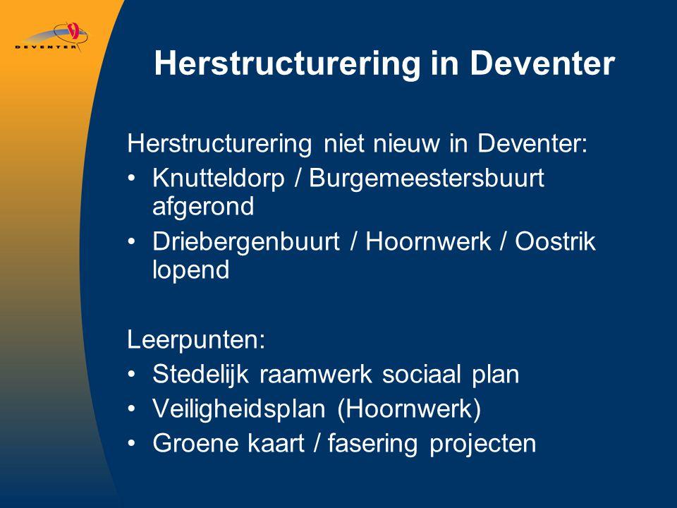 Herstructurering in Deventer Herstructurering niet nieuw in Deventer: Knutteldorp / Burgemeestersbuurt afgerond Driebergenbuurt / Hoornwerk / Oostrik lopend Leerpunten: Stedelijk raamwerk sociaal plan Veiligheidsplan (Hoornwerk) Groene kaart / fasering projecten