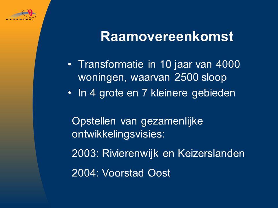 Raamovereenkomst Transformatie in 10 jaar van 4000 woningen, waarvan 2500 sloop In 4 grote en 7 kleinere gebieden Opstellen van gezamenlijke ontwikkelingsvisies: 2003: Rivierenwijk en Keizerslanden 2004: Voorstad Oost