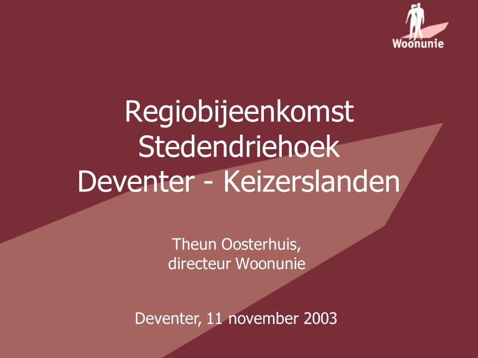 Regiobijeenkomst Stedendriehoek Deventer - Keizerslanden Theun Oosterhuis, directeur Woonunie Deventer, 11 november 2003