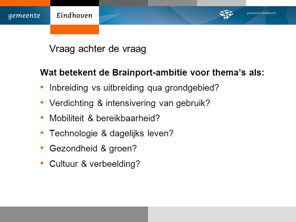 Vraag achter de vraag Wat betekent de Brainport-ambitie voor thema's als: Inbreiding vs uitbreiding qua grondgebied.