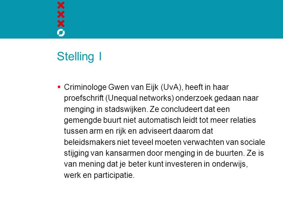 Stelling I  Criminologe Gwen van Eijk (UvA), heeft in haar proefschrift (Unequal networks) onderzoek gedaan naar menging in stadswijken.
