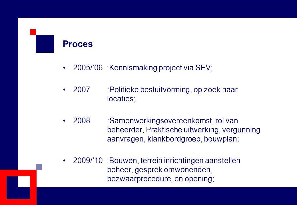 Proces 2005/'06 :Kennismaking project via SEV; 2007 :Politieke besluitvorming, op zoek naar locaties; 2008 :Samenwerkingsovereenkomst, rol van beheerd