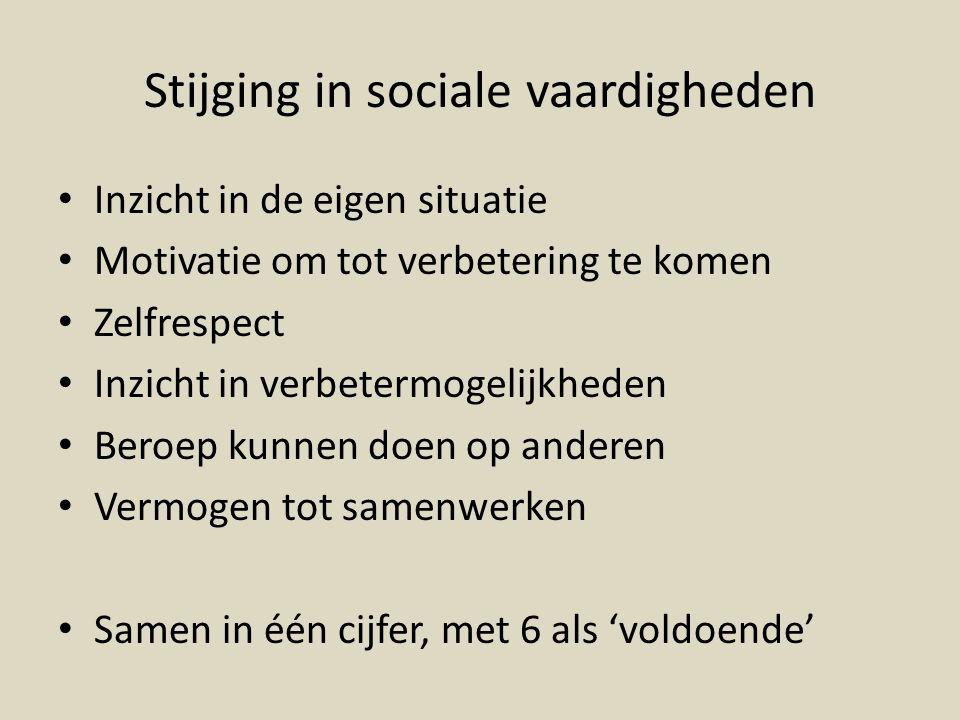 Stijging in sociale vaardigheden Inzicht in de eigen situatie Motivatie om tot verbetering te komen Zelfrespect Inzicht in verbetermogelijkheden Beroe