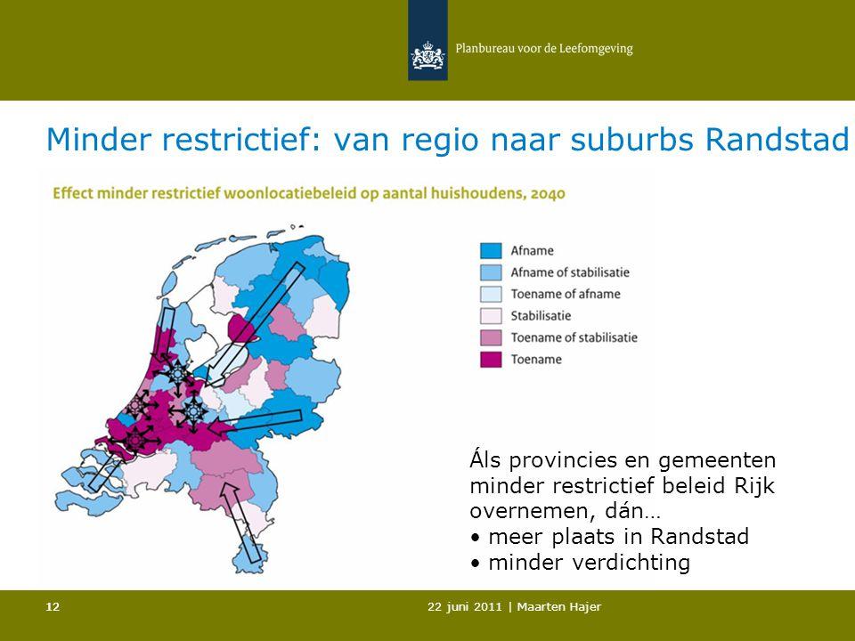 22 juni 2011 | Maarten Hajer 12 Minder restrictief: van regio naar suburbs Randstad Áls provincies en gemeenten minder restrictief beleid Rijk overnemen, dán… meer plaats in Randstad minder verdichting