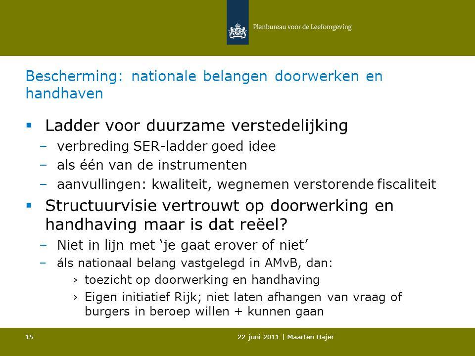 22 juni 2011 | Maarten Hajer 15 Bescherming: nationale belangen doorwerken en handhaven  Ladder voor duurzame verstedelijking –verbreding SER-ladder goed idee –als één van de instrumenten –aanvullingen: kwaliteit, wegnemen verstorende fiscaliteit  Structuurvisie vertrouwt op doorwerking en handhaving maar is dat reëel.
