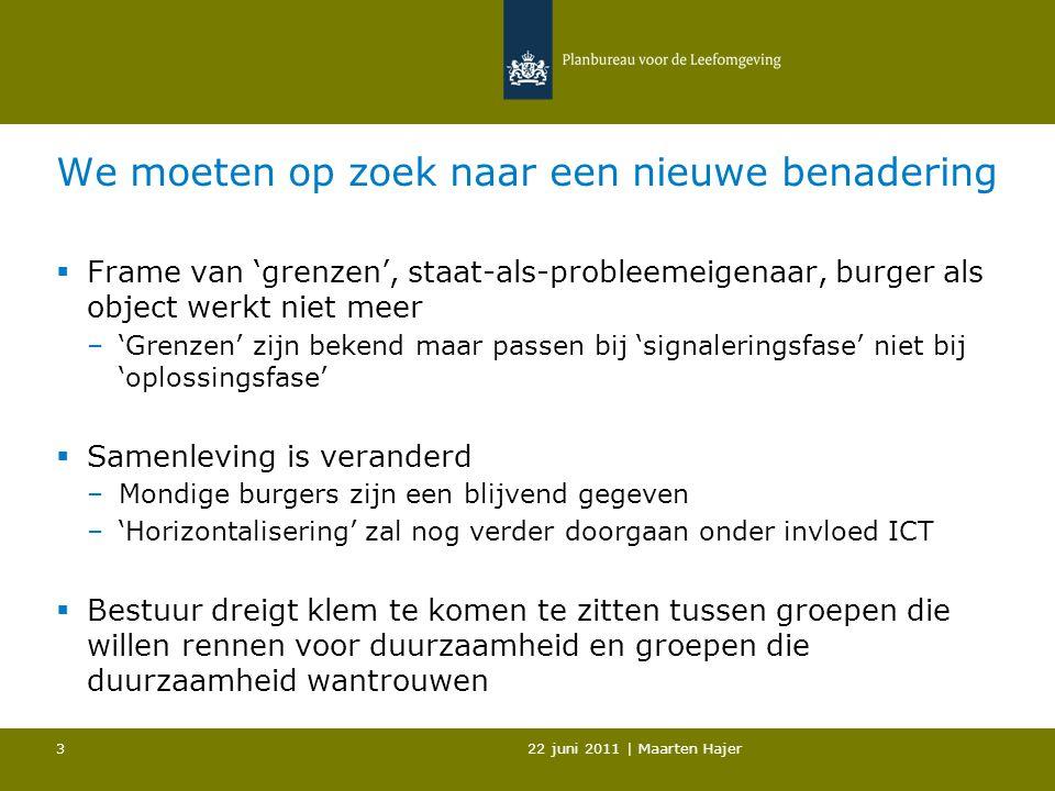 22 juni 2011   Maarten Hajer 4 Duurzaamheid: concurrentiekracht Nederland in het geding  OESO: 'green growth strategy' –Creatieve competitie tussen landen.
