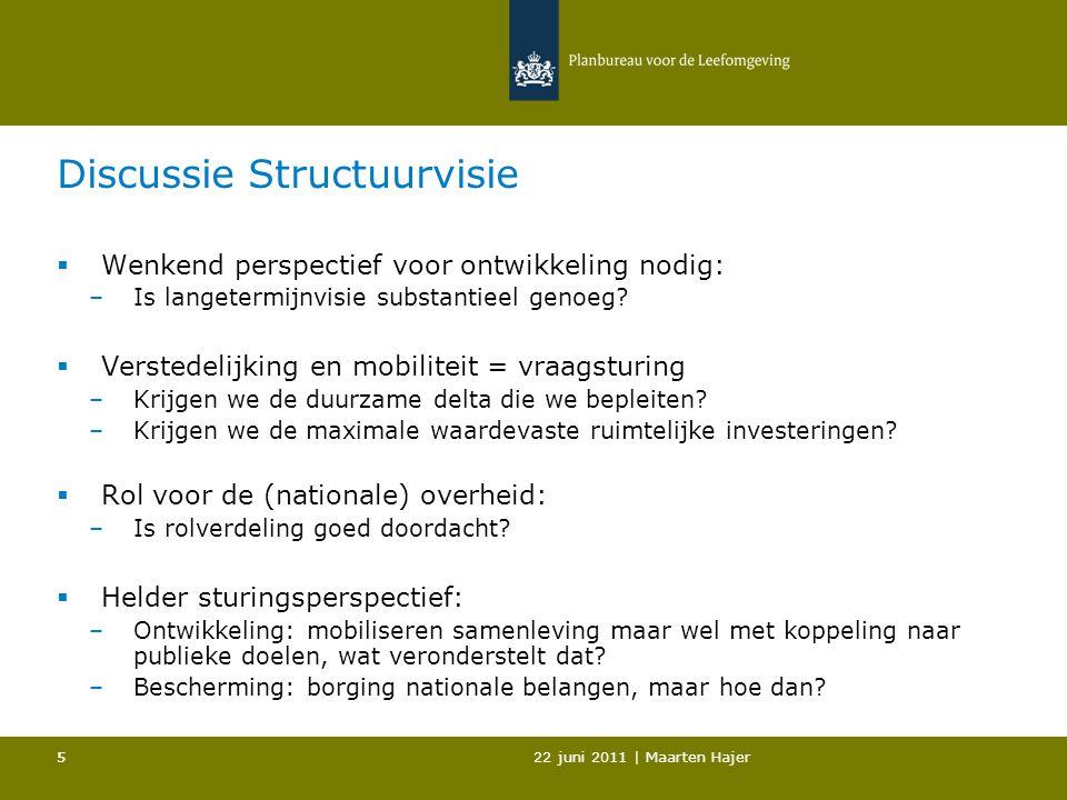 22 juni 2011 | Maarten Hajer 55 Discussie Structuurvisie  Wenkend perspectief voor ontwikkeling nodig: –Is langetermijnvisie substantieel genoeg.