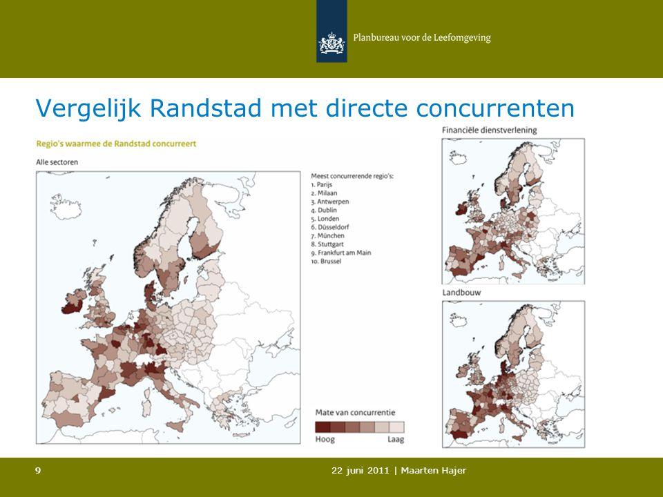 22 juni 2011 | Maarten Hajer 99 Vergelijk Randstad met directe concurrenten