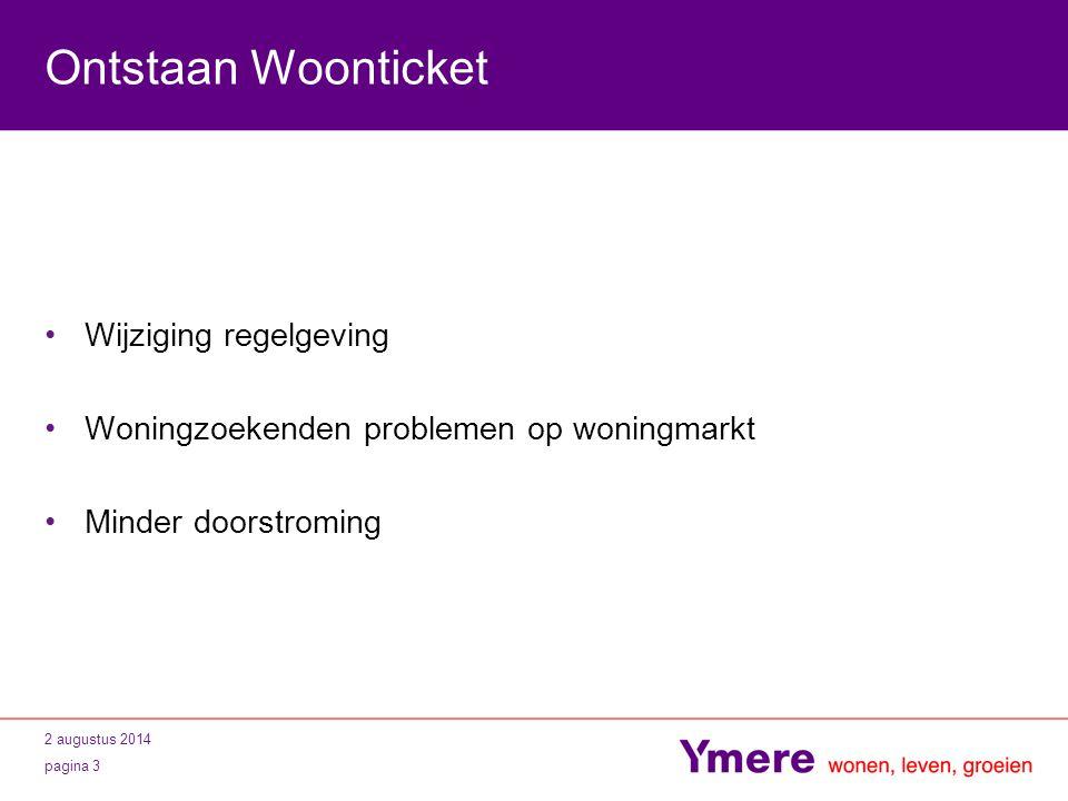 2 augustus 2014 pagina 3 Ontstaan Woonticket Wijziging regelgeving Woningzoekenden problemen op woningmarkt Minder doorstroming