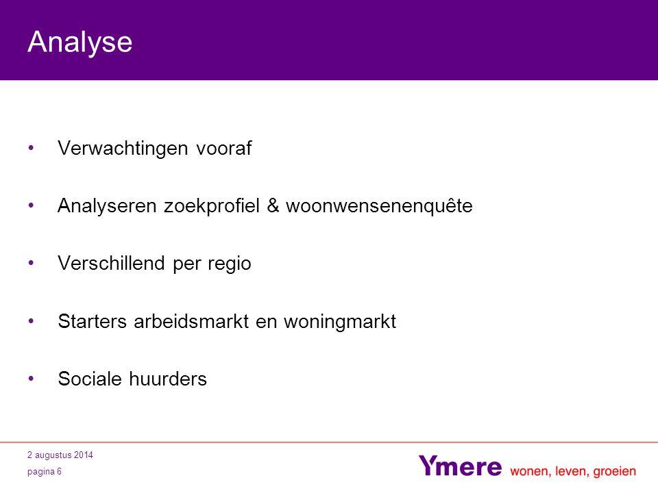 2 augustus 2014 pagina 7 Behaalde resultaten 6000 inschrijvers 1000 actieve tickets 350 bemiddelingen 50 sociale huurders Ymere