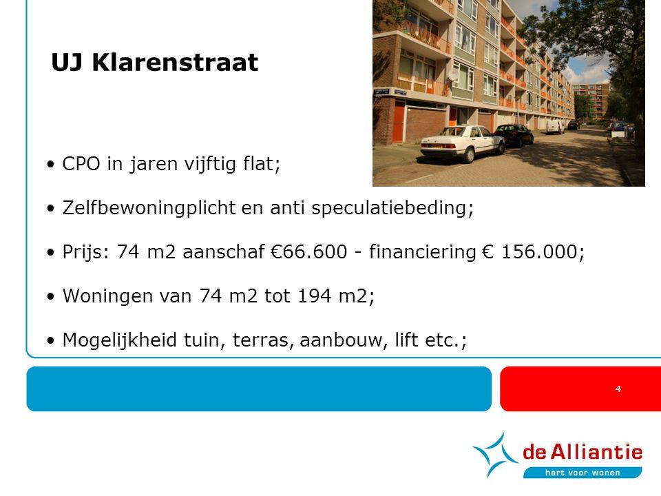 4 UJ Klarenstraat CPO in jaren vijftig flat; Zelfbewoningplicht en anti speculatiebeding; Prijs: 74 m2 aanschaf €66.600 - financiering € 156.000; Woni