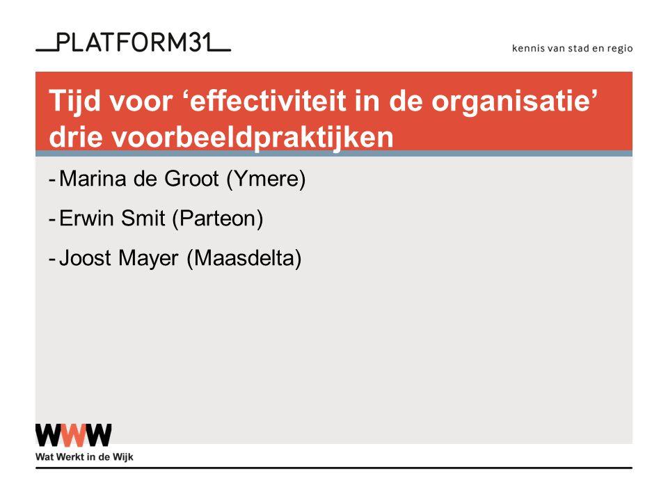 Tijd voor 'effectiviteit in de organisatie' drie voorbeeldpraktijken -Marina de Groot (Ymere) -Erwin Smit (Parteon) -Joost Mayer (Maasdelta)