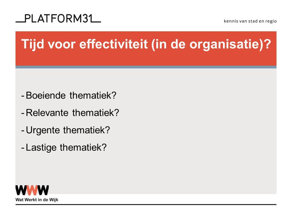 Tijd voor effectiviteit (in de organisatie)? -Boeiende thematiek? -Relevante thematiek? -Urgente thematiek? -Lastige thematiek?