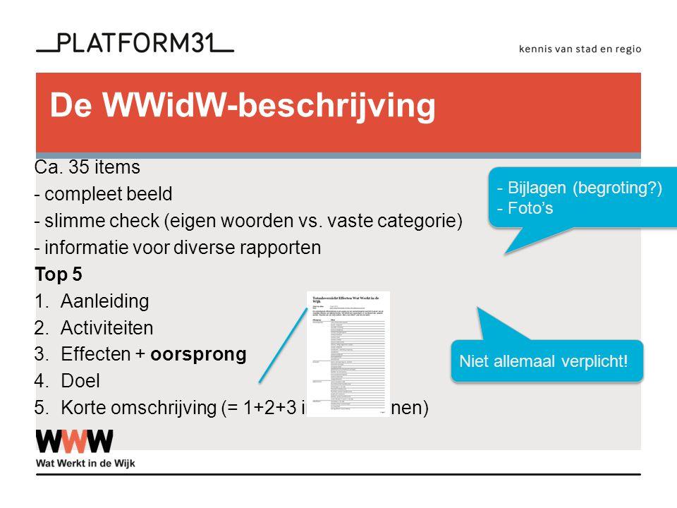 De WWidW-beschrijving Ca. 35 items -compleet beeld -slimme check (eigen woorden vs. vaste categorie) -informatie voor diverse rapporten Top 5 1.Aanlei