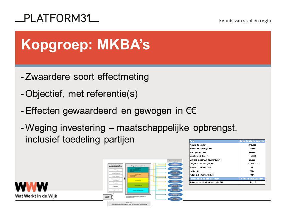 Kopgroep: MKBA's -Zwaardere soort effectmeting -Objectief, met referentie(s) -Effecten gewaardeerd en gewogen in €€ -Weging investering – maatschappelijke opbrengst, inclusief toedeling partijen