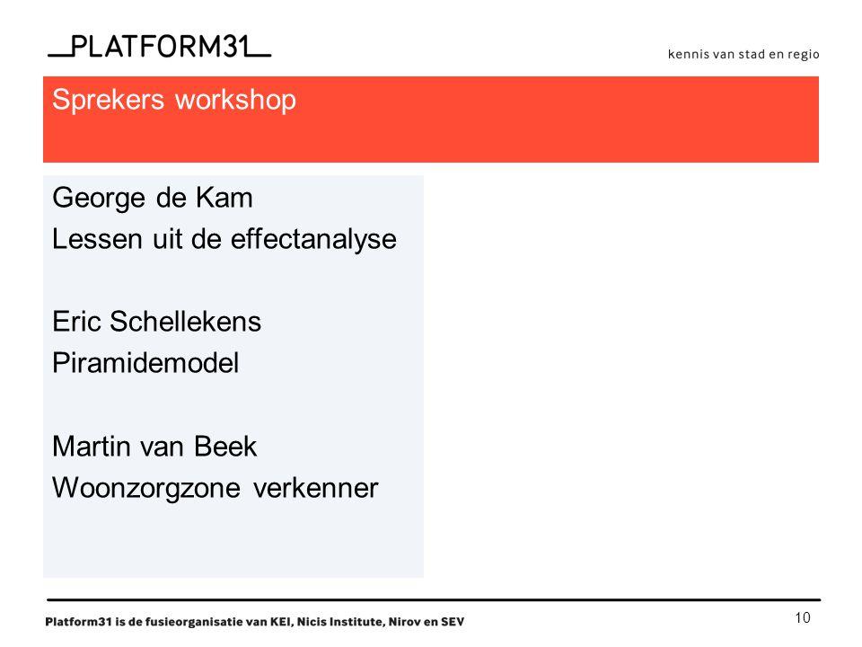 10 Sprekers workshop George de Kam Lessen uit de effectanalyse Eric Schellekens Piramidemodel Martin van Beek Woonzorgzone verkenner