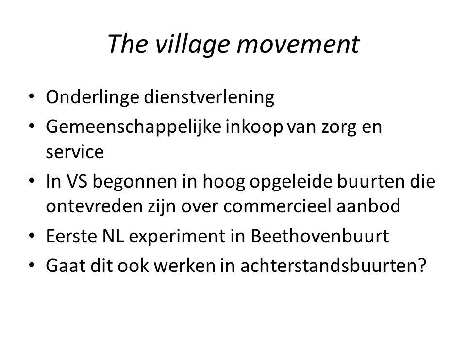 The village movement Onderlinge dienstverlening Gemeenschappelijke inkoop van zorg en service In VS begonnen in hoog opgeleide buurten die ontevreden