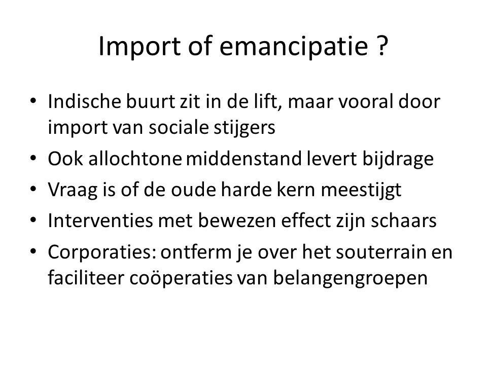 Import of emancipatie ? Indische buurt zit in de lift, maar vooral door import van sociale stijgers Ook allochtone middenstand levert bijdrage Vraag i