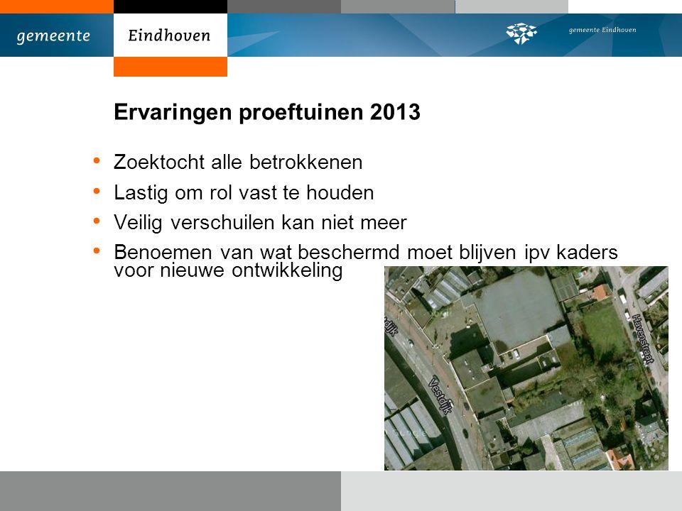 Ervaringen proeftuinen 2013 Zoektocht alle betrokkenen Lastig om rol vast te houden Veilig verschuilen kan niet meer Benoemen van wat beschermd moet blijven ipv kaders voor nieuwe ontwikkeling