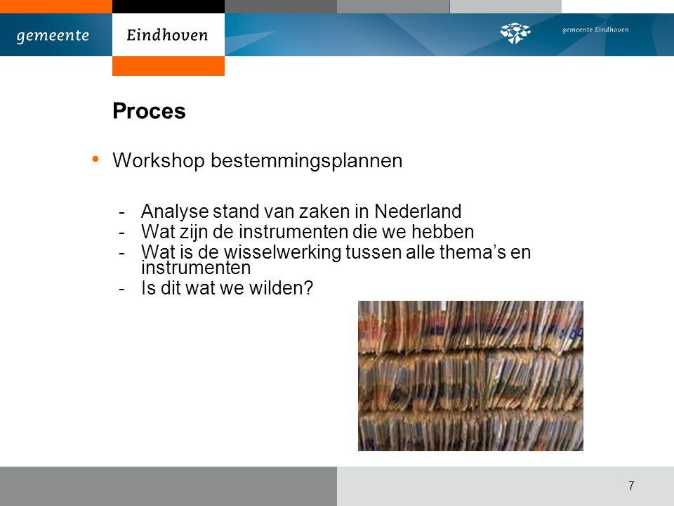 Proces Workshop bestemmingsplannen -Analyse stand van zaken in Nederland -Wat zijn de instrumenten die we hebben -Wat is de wisselwerking tussen alle thema's en instrumenten -Is dit wat we wilden.