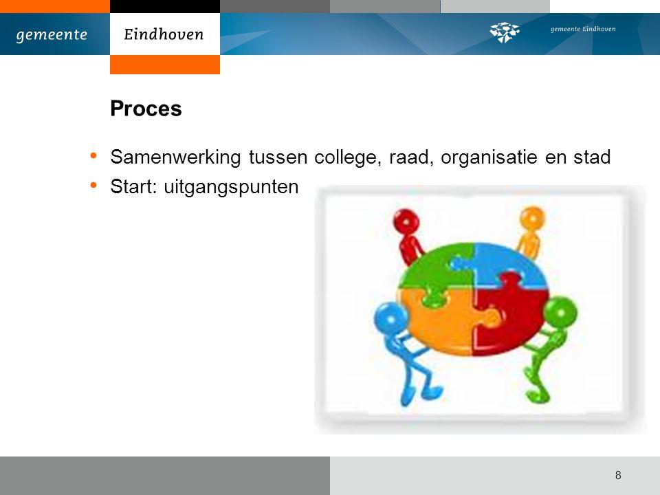 Proces Samenwerking tussen college, raad, organisatie en stad Start: uitgangspunten 8