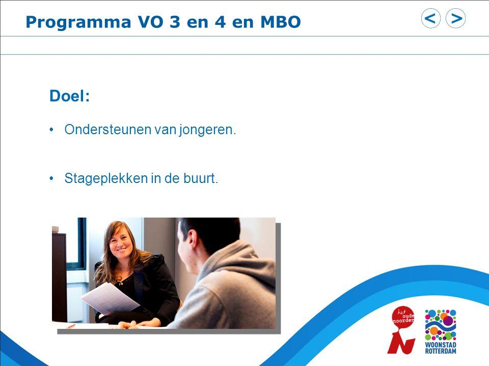 Programma VO 3 en 4 en MBO Doel: Ondersteunen van jongeren. Stageplekken in de buurt.