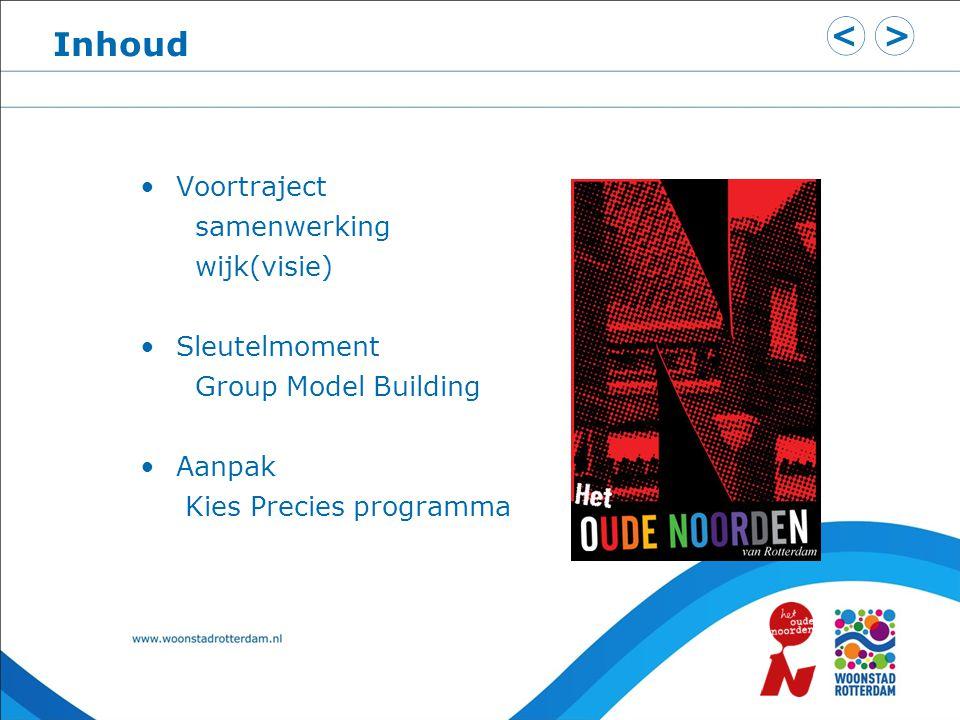 Inhoud Voortraject samenwerking wijk(visie) Sleutelmoment Group Model Building Aanpak Kies Precies programma