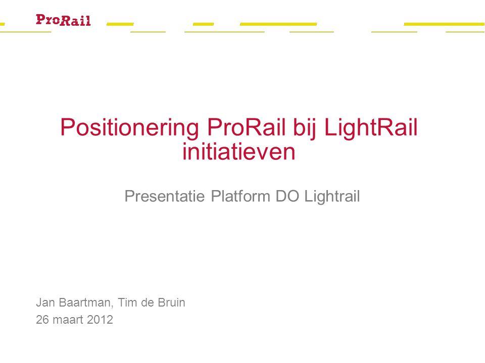 Welkom Jan Baartman, Tim de Bruin 26 maart 2012 Positionering ProRail bij LightRail initiatieven Presentatie Platform DO Lightrail