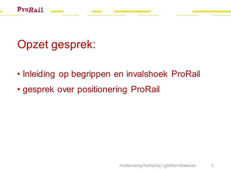 Opzet gesprek: Inleiding op begrippen en invalshoek ProRail gesprek over positionering ProRail Positionering ProRail bij LightRail initiatieven 2