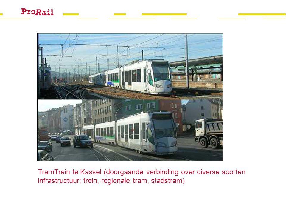 TramTrein te Kassel (doorgaande verbinding over diverse soorten infrastructuur: trein, regionale tram, stadstram)