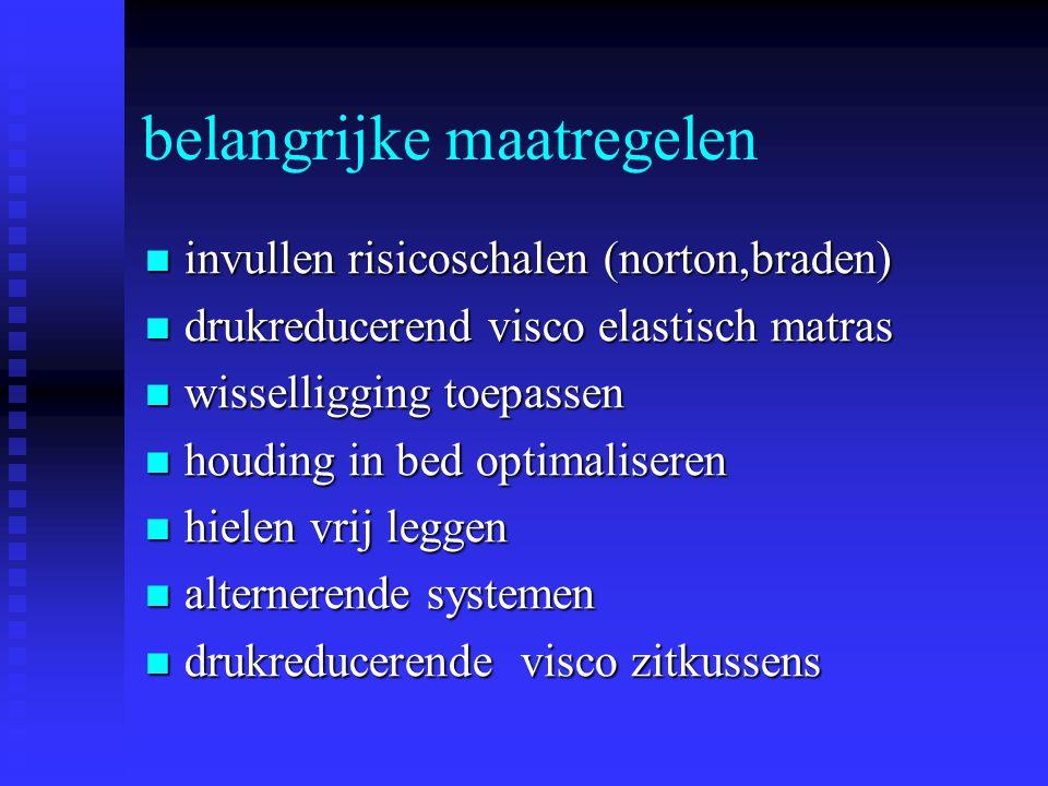 belangrijke maatregelen invullen risicoschalen (norton,braden) invullen risicoschalen (norton,braden) drukreducerend visco elastisch matras drukreduce