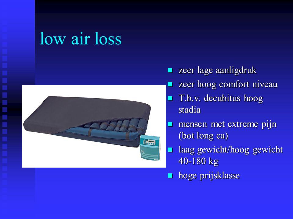 low air loss zeer lage aanligdruk zeer hoog comfort niveau T.b.v. decubitus hoog stadia mensen met extreme pijn (bot long ca) laag gewicht/hoog gewich
