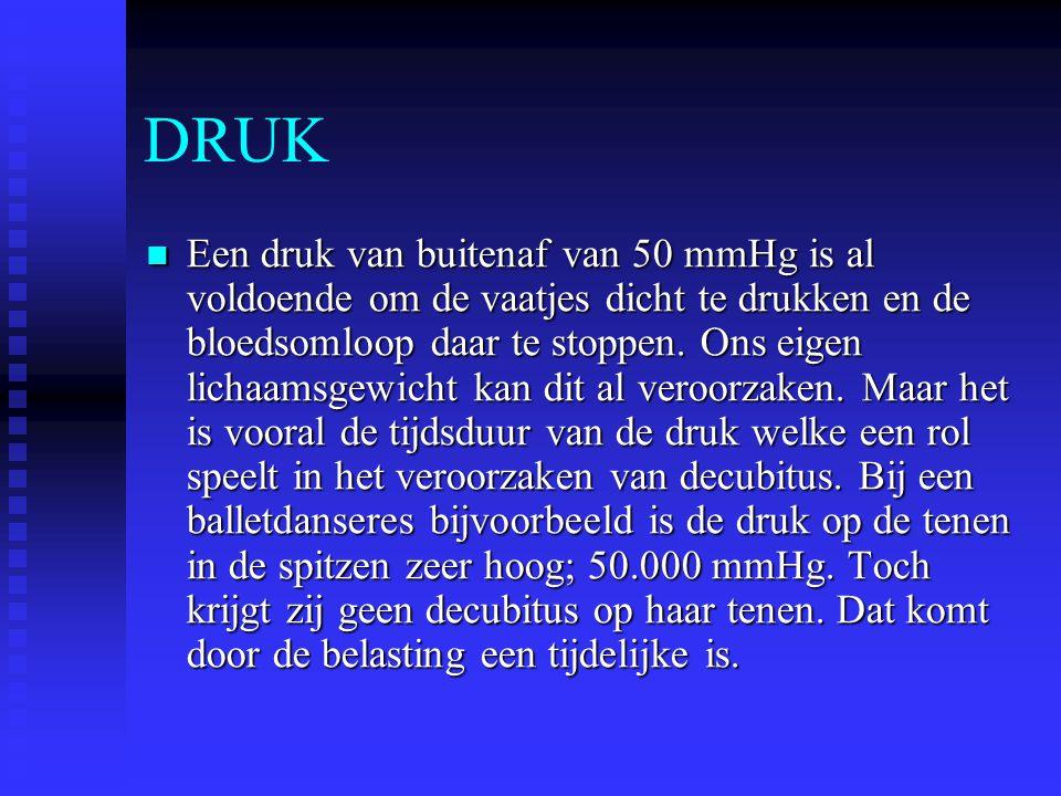 DRUK Een druk van buitenaf van 50 mmHg is al voldoende om de vaatjes dicht te drukken en de bloedsomloop daar te stoppen. Ons eigen lichaamsgewicht ka