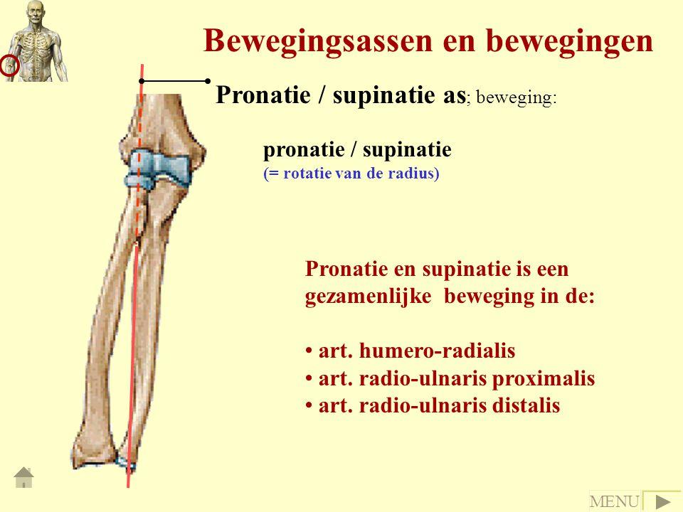 Bewegingsassen en bewegingen pronatie / supinatie (= rotatie van de radius) Pronatie en supinatie is een gezamenlijke beweging in de: art. humero-radi