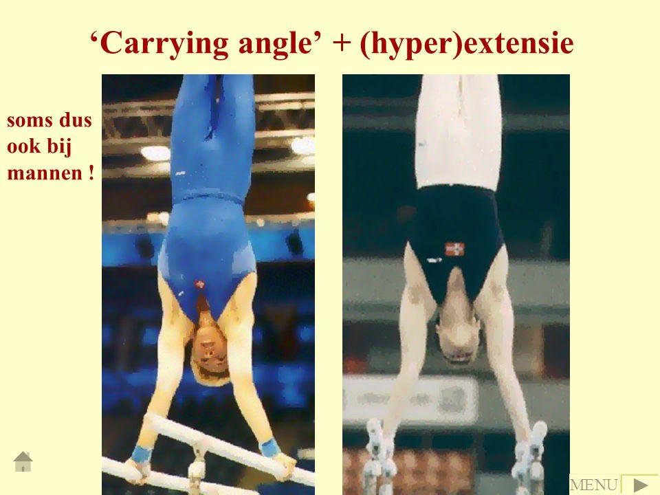 'Carrying angle' + (hyper)extensie soms dus ook bij mannen ! MENU